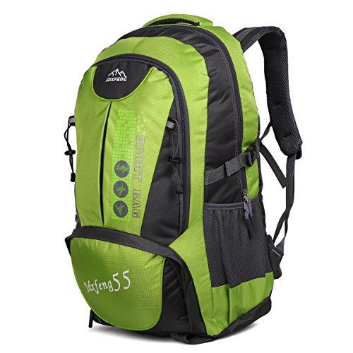 HWJIANFENG 55L Mochilas de Acampada Multifuncional Mochilas de Senderismo de Nailon Impermeable Mochilas de Ciclismo para Viajes Unisex,color negro verde
