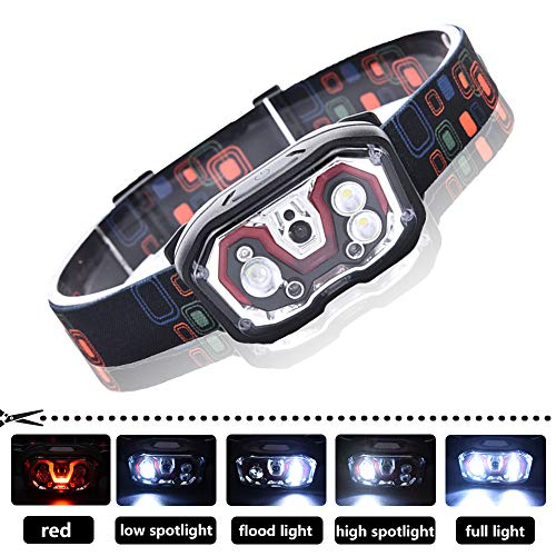 Zure Bright 300 Lumens LED Headlamp Flashlight for Running, 5 Lighting Modes Head Lamp for Adults, USB Rechargeable (Batteries Included)