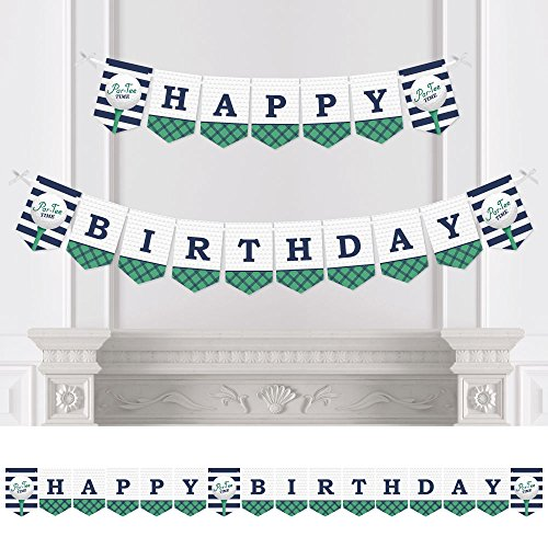 Golf Banner (Par-Tee Time - Golf - Birthday Party Bunting Banner - Golf Party Decorations - Happy Birthday)