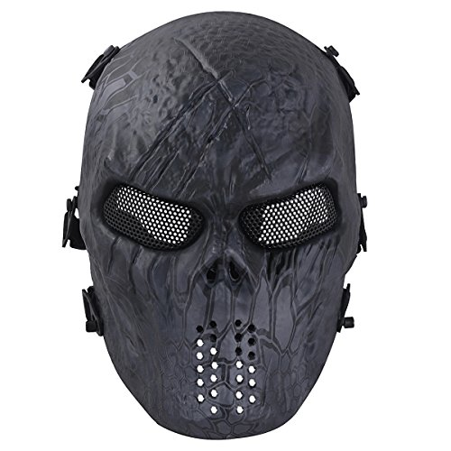 OUTGEEK Tactical Airsoft Mesh Mask Protective Full Face Costume Mask(Urban) (Custom Paintball Mask compare prices)