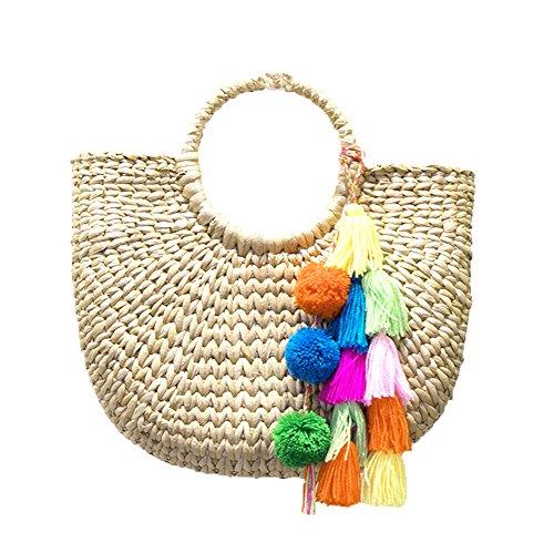Natural Chic Hand-woven handbag Top Handle Ring Large Casual Summer Beach Handbags - Chic Handbag Charm