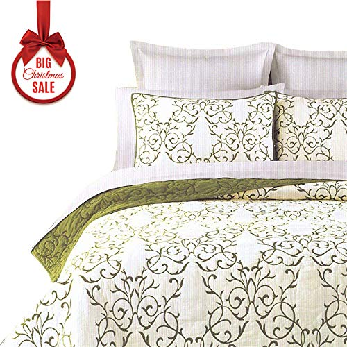 00% Cotton 3-Piece Green Embroidery Pattern Elegant Quilt Set with Embroidered Decorative Shams Soft Bedspread&Coverlet Set-King ()