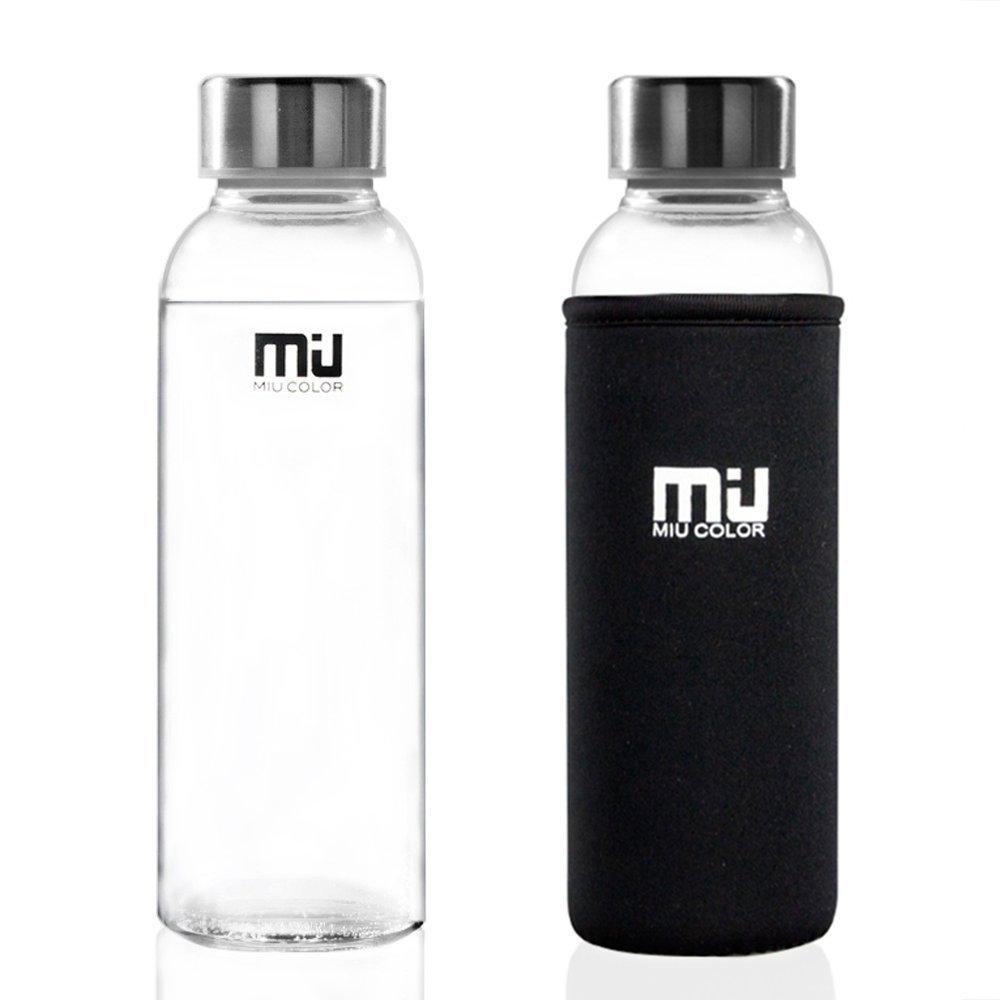 MIU COLOR® Stilvolle Tragbare 360ml Glasflasche Trinkflasche mit ...