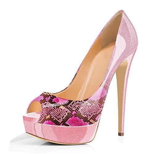(Joogo Women Peep Toe Pumps Platform Thin Heel Stiletto Sandals Wedding High Heels Slip On Dress Shoes Pink Bling Snake Size)