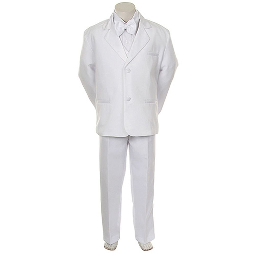 Angels Garment Infant Boys White Classic Tuxedo 5 Pc Sets 18M