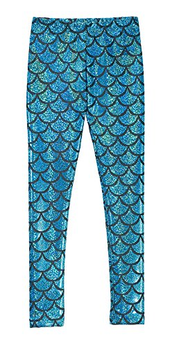 City Threads Girls Leggings Metallic Mermaid Print Shiny Colorful Fun Ankle Length for Style Fashion Parties Pop of Color, Mermaid Sparkle Turquoise, 4T by City Threads