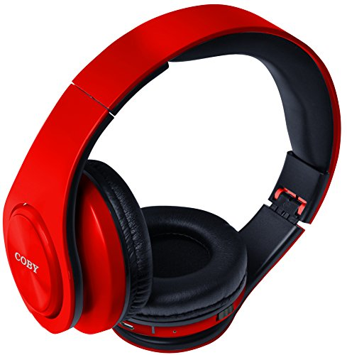 Coby Bluetooth Headphone (Coby CHBT-611-RED Valor Folding Bluetooth Stereo Headphones, Red)