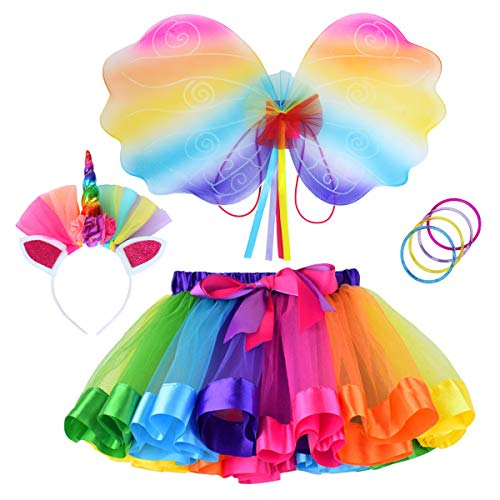Rainbow Tutu Dress Birthday Outfit for Little Girls with Headband and Bracelets (Rainbow+Wing, L, 4-8T)