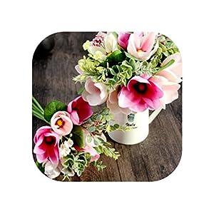 Sweet*love 6 Head Decorative Flower Silk Magnolia Artificial Orchid Flower Bouquet Fake Wedding Party Flower Arrangement Wedding Decoration 56