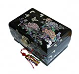 Lacquer inlaid Mother of Pearl Peony Flower Jewelry Box Display Nacre Jewellry Case