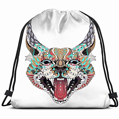 patterned caracal lynx growling cat tattoo animals wildlife 3D Print Drawstring Backpack Rucksack Shoulder Bags Gym Bag 17X14 Inch