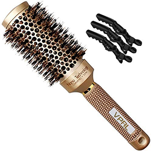VPAL Round Brush for Blow Drying with 3Pcs Hair Clips, Natural Boar Bristle, Nano Thermal Ceramic & Ionic Hair Round Barrel Brush for Blowout, Curling & Straightening (1.8 inch)