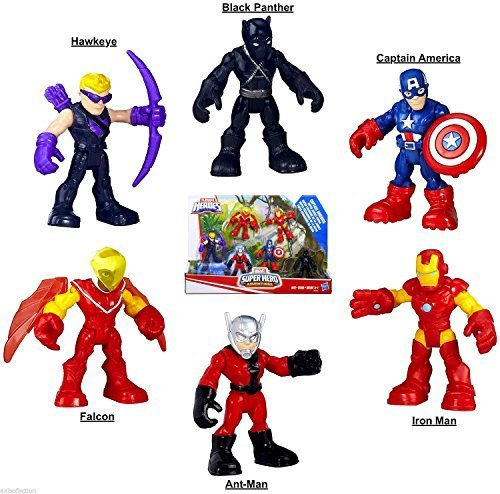 Playskool Marvel Super Hero Adventures Super Jungle Squad Set With Black Panther, Antman and New Improved Falcon 2.5 Inch Figures