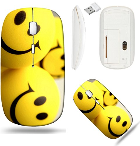 (Liili Wireless Mouse White Base Travel 2.4G Wireless Mice with USB Receiver, Click with 1000 DPI for notebook, pc, laptop, computer, mac book Smiley faces Photo 5152910 )