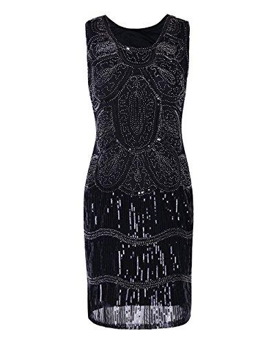 Zhihui Vintage 1920s Cocktail Gatsby Art Deco Flapper Dress XL Black