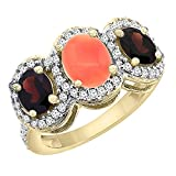 10K Yellow Gold Natural Coral & Garnet 3-Stone Ring Oval Diamond Accent, sizes 5 - 10
