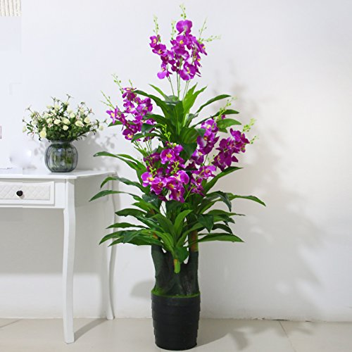Fkduih Fake Tree Phalaenopsis Plant Simulation Of Large Floor Decorative Plastic Flowers Potted Landscape Simulation Room Indoor Plants,B