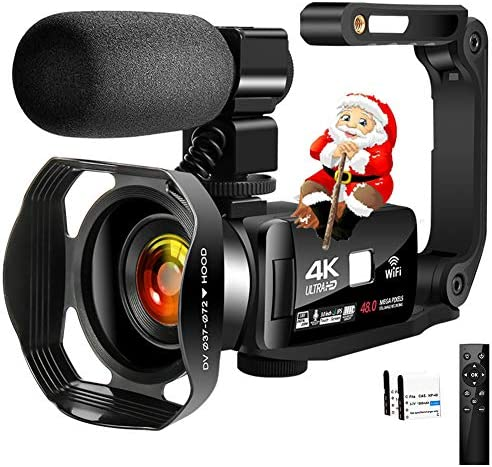 "4K Camcorder Digital Video Camera WiFi Vlogging Camera Camcorders with Microphone & Remote Control 3.0"" IPS Touch Screen Vlog Camera for YouTube Video Camera"