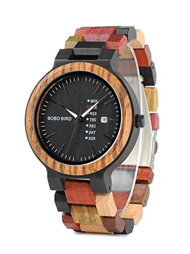 Mens Wooden Watch  Analog Quartz Watches Lightweight Handmade Casual Wood Wrist Watches With Date   Week Dispaly