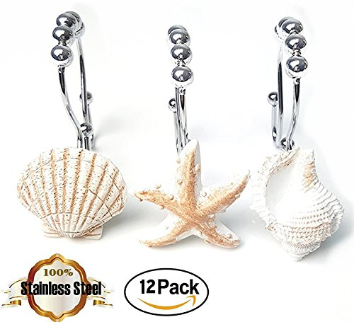 Anti Rust Shower Curtain Hooks Starfish Shell for Bathroom 12PK