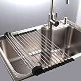 "Size: 17.2""(L)x15.7""(W)X 0.4'(H) Material:  18/8 food-grade stainless steel 1) The Dish Drying Rack mat unrolls over the sink for air-drying any washed tableware, cookware, bakeware, stoneware, flatware, kitchenware and fragile glassware, fruits or v..."
