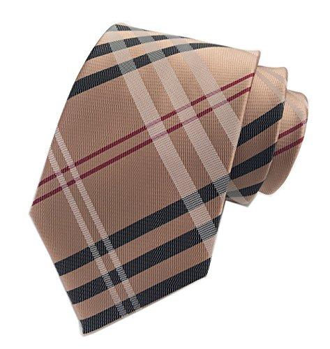 Men's Brown Red Black Woven Casual Preppy Stylish Tie Necktie Presents Gift - Preppy Mens Blazer