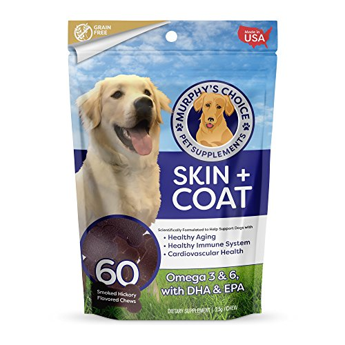 Murphy's Choice Skin + Coat Omega 3 Fish Oil Supplement Chews for Dogs – For Shiny Coats & Itch Free Skin – Contains Omega 3 & 6 Fatty Acids, EPA & DHA – 60 Smoked Hickory Flavored Chews – Made in USA Review