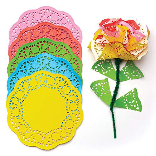 Colored Paper Doilies 5 Assorted Colors | Size: 6.5 inches (16.5cm) | Kids' Art & Craft Activities Collage Model Making (Pack of 120)