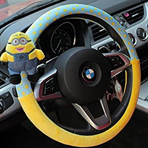 finex auto despicable me 2 minion car steering wheel cover automotive. Black Bedroom Furniture Sets. Home Design Ideas