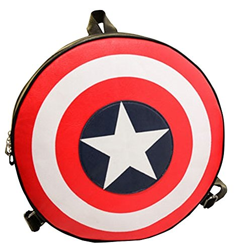 Fashion Captain America's Shield the Avengers Alliance Student Backpack Book Schoolbag Pentagram Decoration Randoseru Bag (Captain America Shield Backpack)