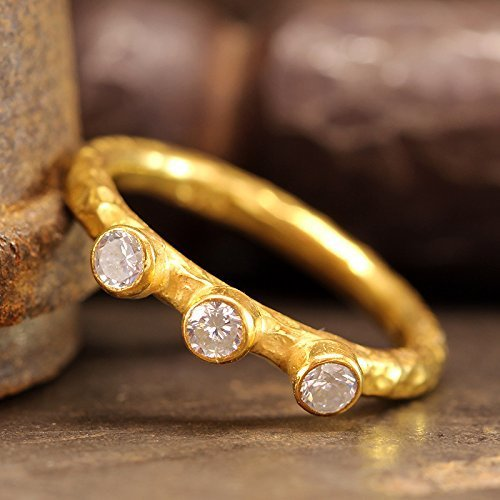 Three Stone Cubic Zirconia Ring 925 Sterling Silver 24K Yellow Gold Vermeil Stacking Hammered Handcrafted Stackable Band Ring