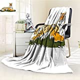 AmaPark Lightweight Blanket Africa Striped Safari Tiger Design Earth Yellow Black and White Digital Printing Blanket