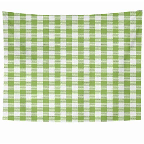 Ahawoso Tapestry 60x50 Inches Green Gingham Buffalo Check Plaid Stamp for Sleepwear Design Southwest Wall Hanging Home Decor Tapestries for Living Room Bedroom Dorm