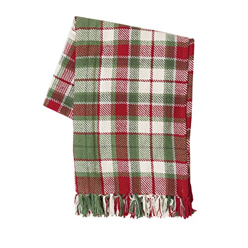C&F Home Owen Plaid Winter Holiday Christmas Throw Blanket with Fringe Cotton Machine Washable Soft Cozy for Couch Sofa Bed 50 x 60 Throw Green (Plaid Green Throw)