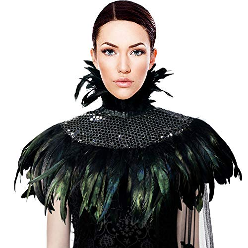 HOMELEX Natural Feather Sequin Shawl Gothic Black Cape with Choker Collar (Black)