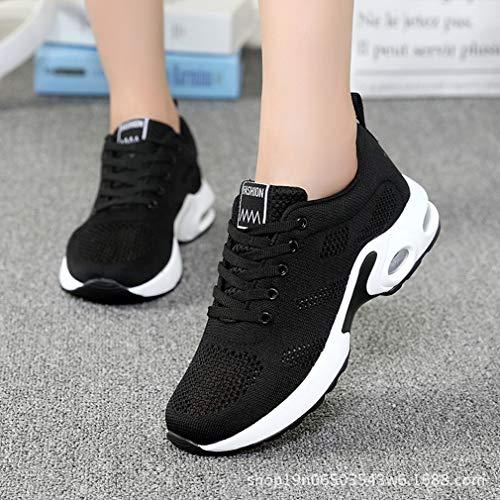 Sneakers Femmes Hibote Noir Formateurs Légers De Occasionnels Respirant Running Fitness Gym Lacets Athlétiques À Marche Chaussures F66pqWwd