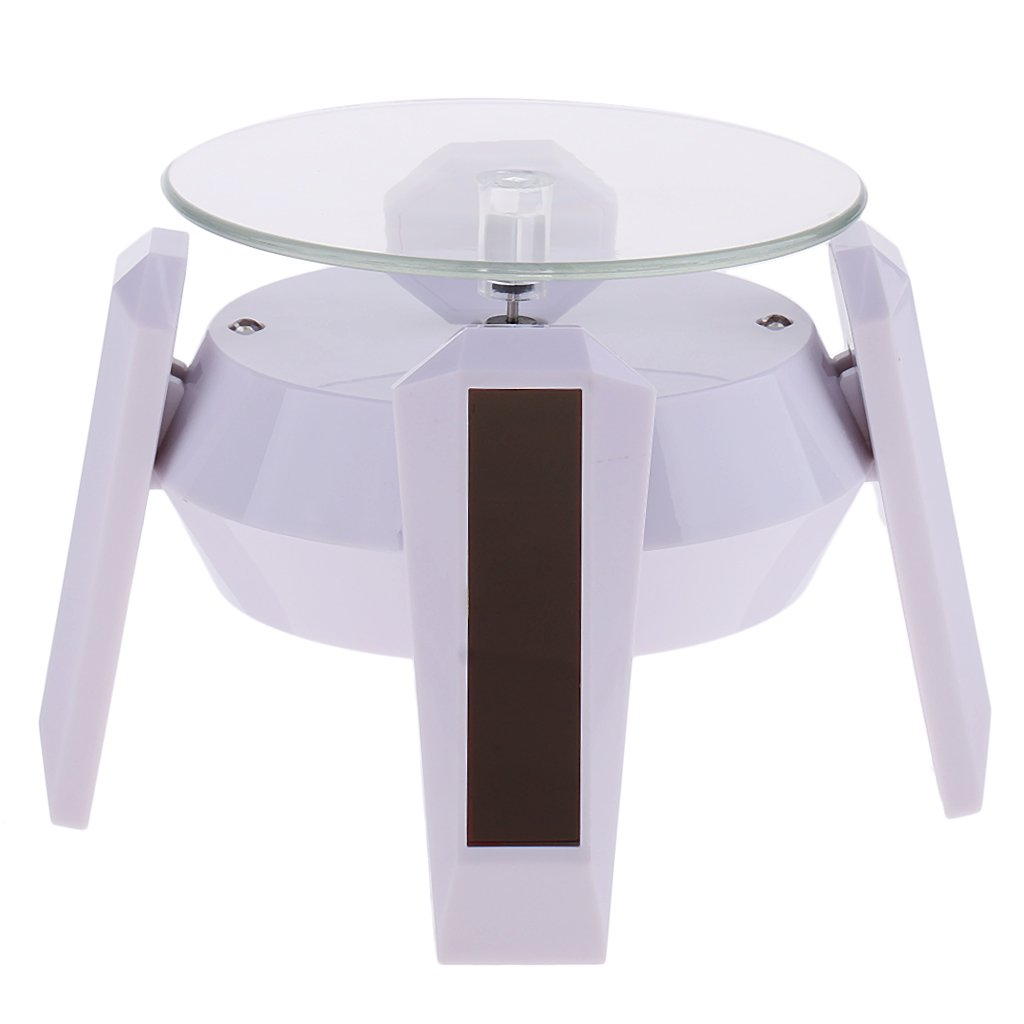 MagiDeal LED Solar/Battery Powered Rotating Jewelry 360 Dergee Display Stand - White Base & Blue Light, as described