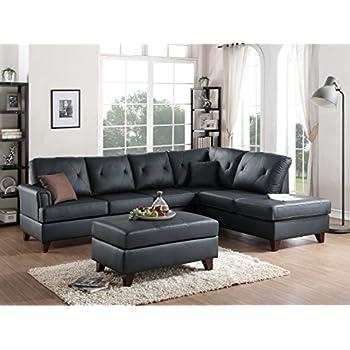 amazon com 3pcs black l shaped reversible sectional sofa chaise rh amazon com microfiber reversible chaise sectional sofa reversible sectional sofas with chaise