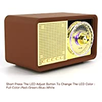 Leiqi Retro Classic Style LED Light Portable Bluetooth Speaker,MP3 Player Built-In Power Bank,Mic,Micro TF SD Card,USB Input,AUX Line-In,Powerful 7W Audio Driver(Brown)