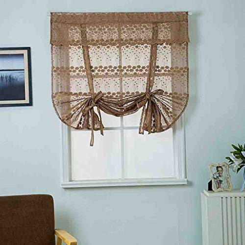 (Fine Elegant Lace Embroidered Sheer Curtains,Tulle Perforated Kitchen Bathroom Window Roman Curtain Floral Tulle Valances,Adjustable Tie-Up Curtain (Coffee))