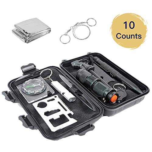 Deyace Emergency Survival Kit, Upgraded First Aid Survival Kit Outdoor Survival Gear Tool for Wilderness/Trip/Cars/Hiking/Camping Gear - Wire Saw, Emergency Blanket, Flashlight, Tactical Pen (2019)