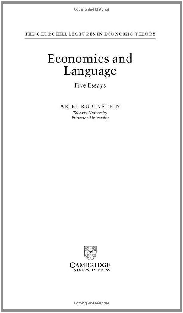 Economics and Language: Five Essays (Churchill Lectures in Economics) by Cambridge University Press