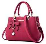 Dreubea Womens Handbag Tote Shoulder Purse Leather Crossbody Bag Wine Red
