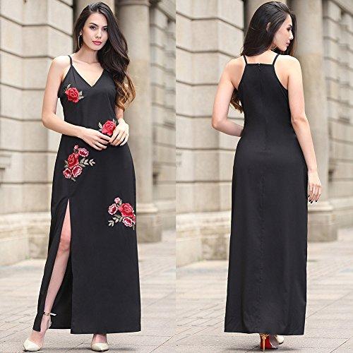 Mujeres Vintage Summer Slit Vestido largo V cuello Spaghetti Strap Dress Negro