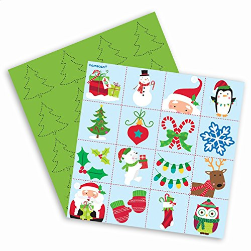 Amscan Festive Christmas Bingo Game Party Activity, Paper, 7'' X 6'' Party Supplies by Amscan