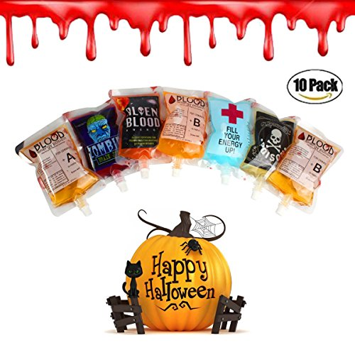 Halloween Party Drinking Blood Bag -AQUEOUS 250ML 8.5oz 10 Pack with Funnel Reusable Drink Container for