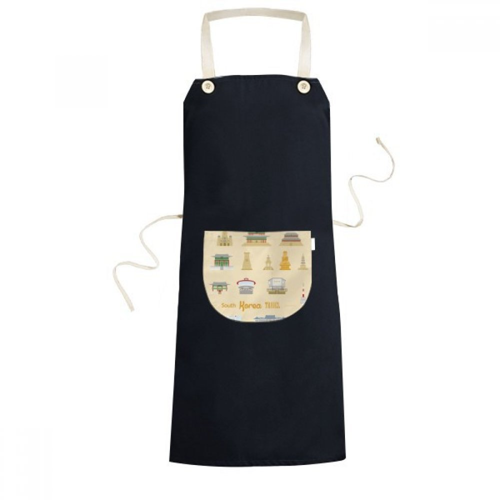 DIYthinker South Korea Famous Travel Cooking Kitchen Black Bib Aprons With Pocket for Women Men Chef Gifts
