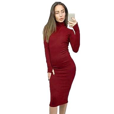93365ef72752 Amazon.com: Hunputa Sexy Womens Stretch Winter Warm High Neck Long Sleeve  Slim Bodycon Party Midi Dress: Clothing
