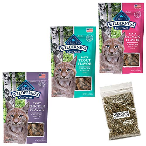Blue Buffalo Wilderness Crunchy Cat Treats Variety Pack and Catnip - 2 Oz. Each - 3 Flavors - Salmon, Trout, and Chicken (3 Pouches Total) ()