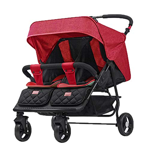 Twins and Twin Strollers- Tandem Double Pushchair from Birth- Reversible Seat Convertible to Carrycot- Lightweight with Convertible Bassinet Stroller,Red